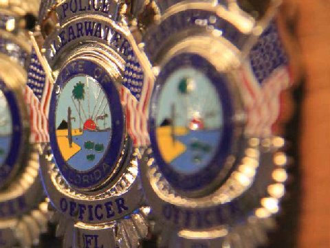 Clearwater Police Officer Badges Lined in A Row