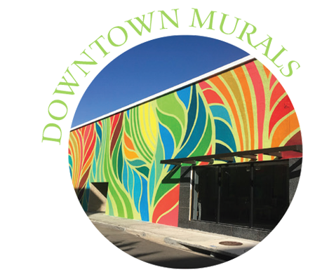 Downtown Murals with photo of rainbow mural in downtown clearwater