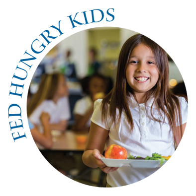 Fed Hunry Kids with picture of girl smiling with lunch tray