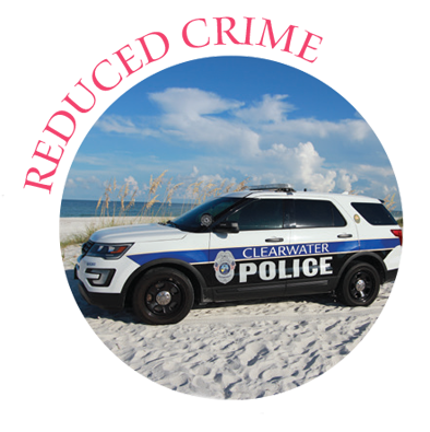 Reduced Crime with photo of police officer vehicle
