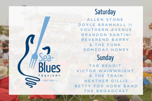 Clearwater Sea Blues Artist Lineup 2020: Allen Stone, Doyle Bramhall ll, Southern Avenue, Brandon Santini, Reverend Barry & The Funk, Someday Honey, Tab Benoit, Victor Wainwright & The Train, Heather Gillis, Betty Fox Horn Band, and The Broadcast
