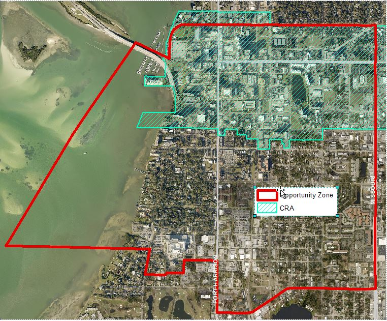 Opportunity Zone aerial map with outline of entire zone in red and CRA in green