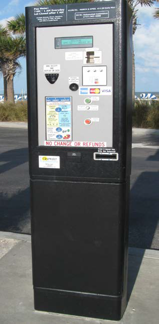 Pay Station for parking, black tower with a screen