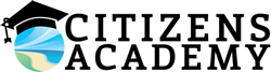 Large image of city logo with grad cap and the words Citizens Academy