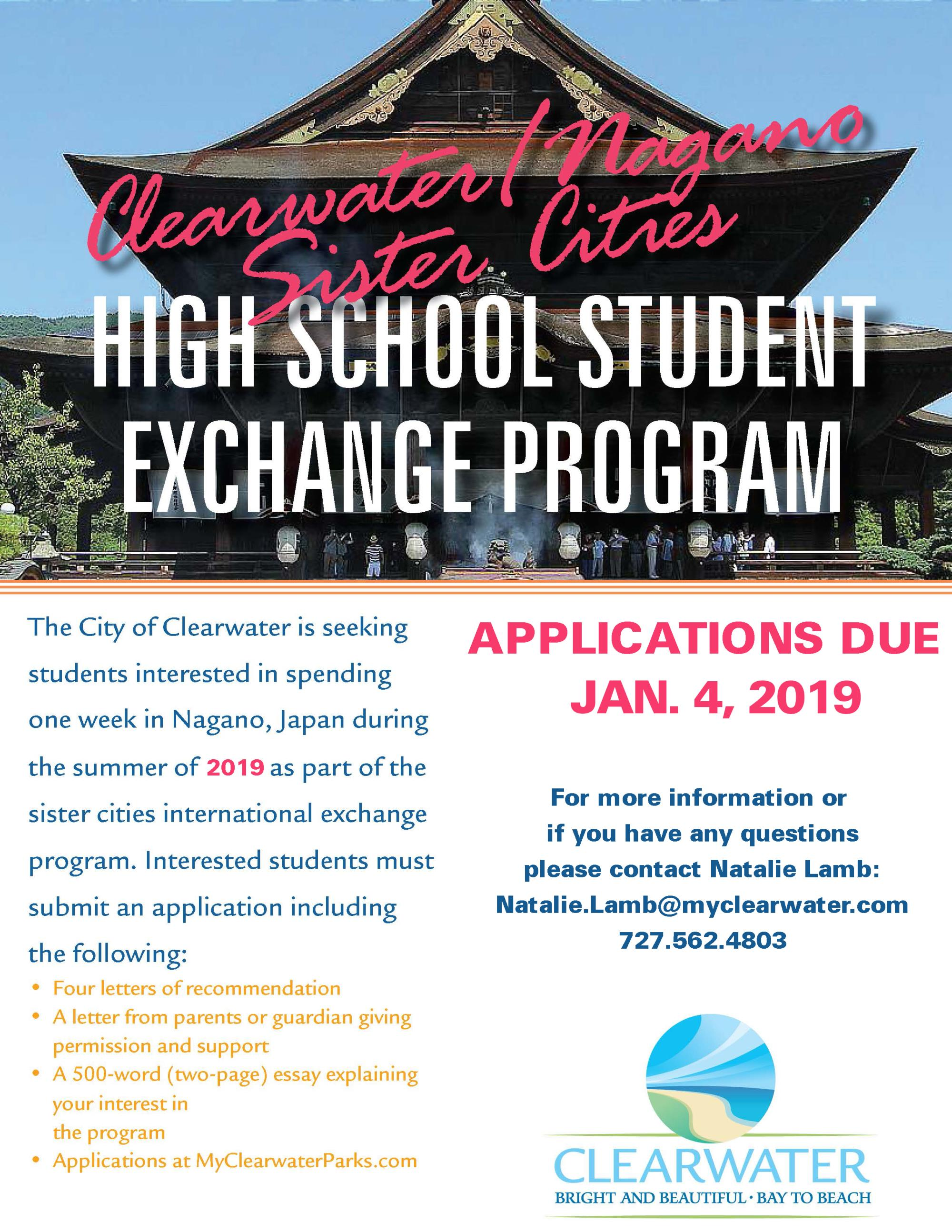 Sister Exchange Program Flyer 2018