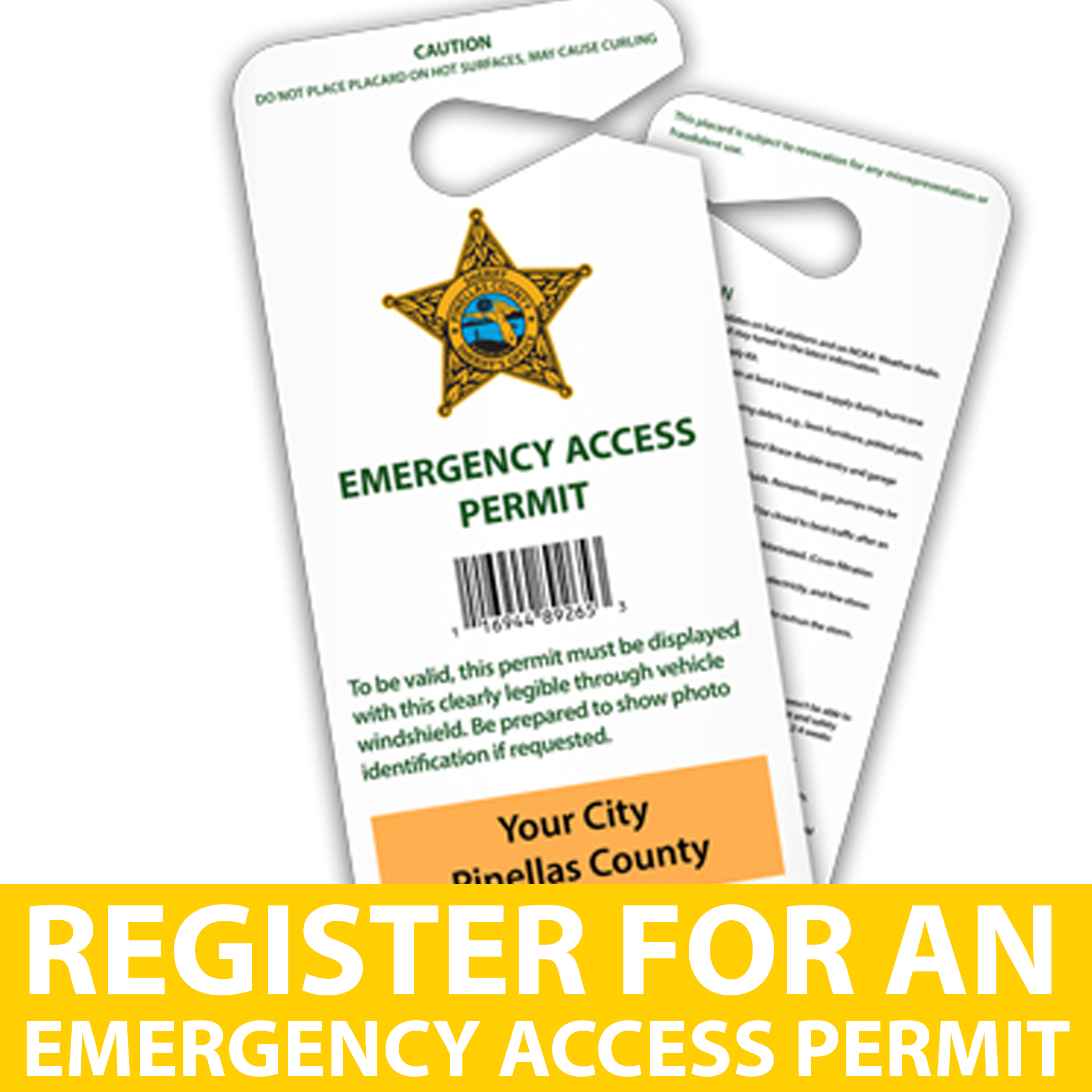 Register for an Emergency Access Permit with Pineallas County