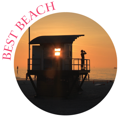 Best beach with photo of lifeguard watching the water