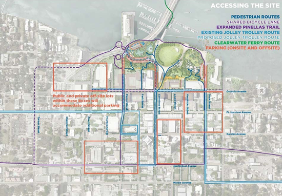Image of Overview of the Clearwater Downtown area with existing traffic routes