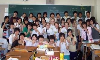 Class of exchange students from Japan in classroom
