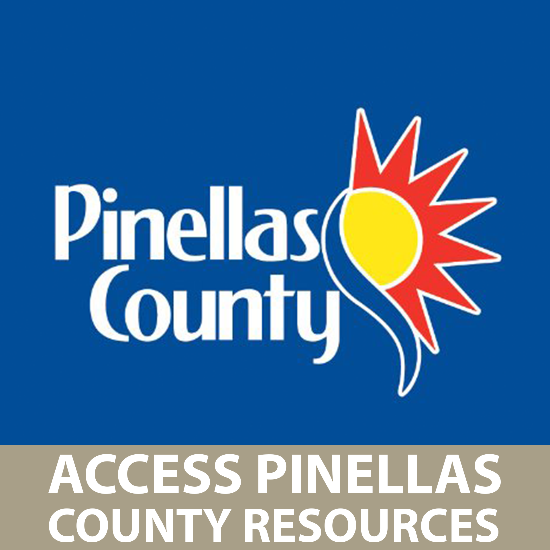 Access Pinellas County Resources Button with Pinellas County logo