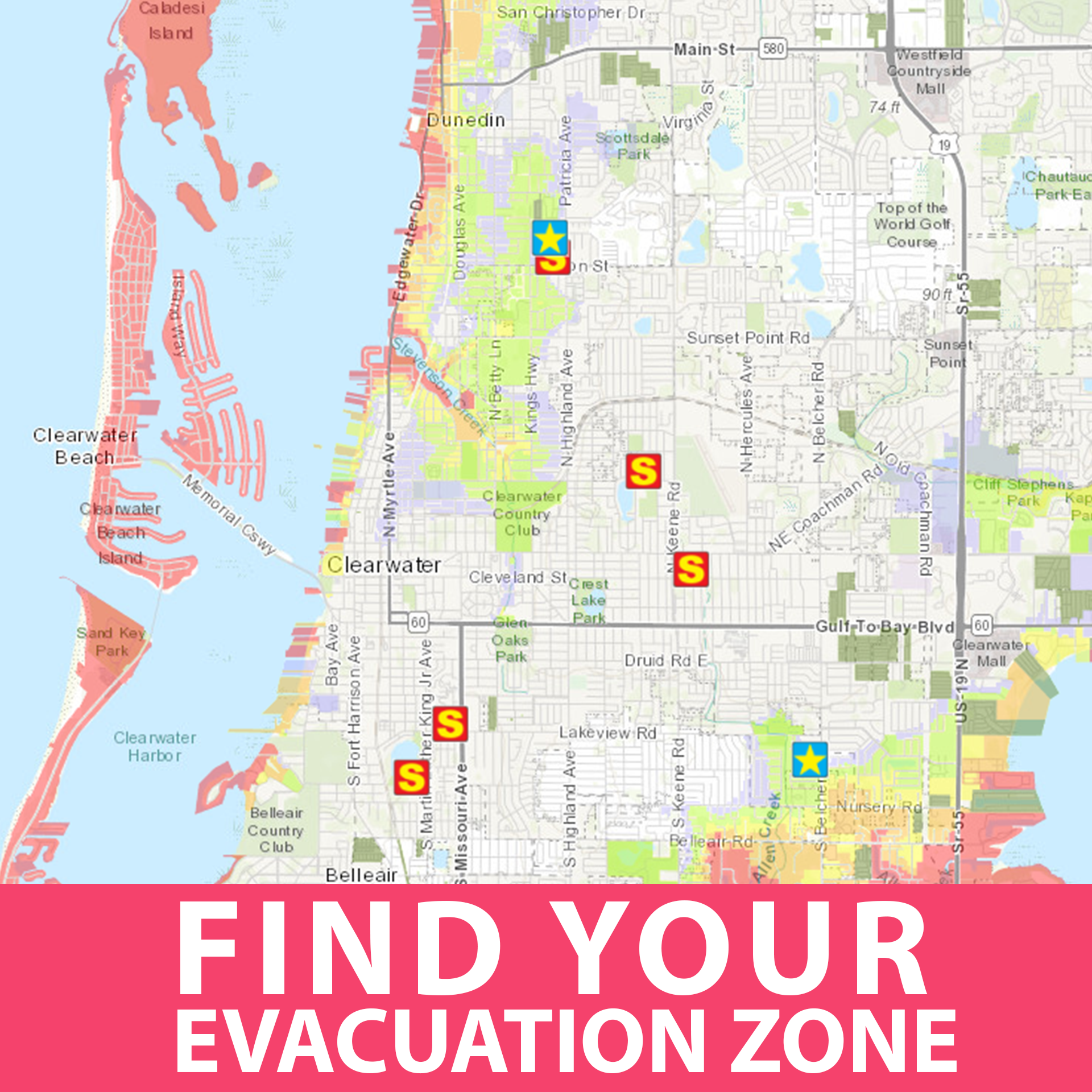 Find your evacuation zone button with map depicting the pinellas county evacuation zone. Specifically focuses on the Clearwater area.