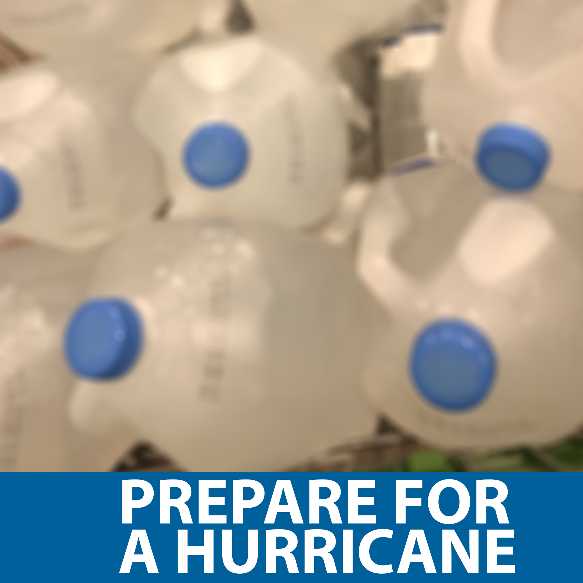 Prepare for a hurricane button depicting bulk amount of gallons of water